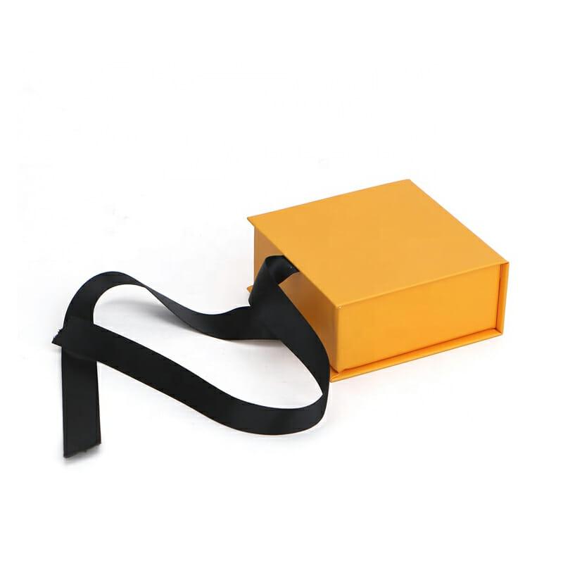 Orange jewelry ribbon packaging box