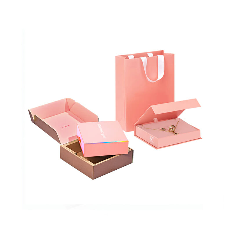 Pink jewelry drawer packing boxes