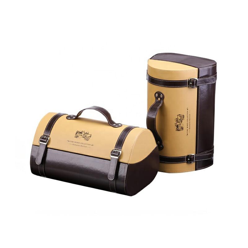 Handle Leather PU Classical Wine Storage Box